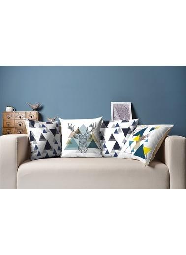Tezkotekstil Mavi Geometrik 4'Lü Kombin Dekoratif Yastık Kırlent Kılıfı Renkli